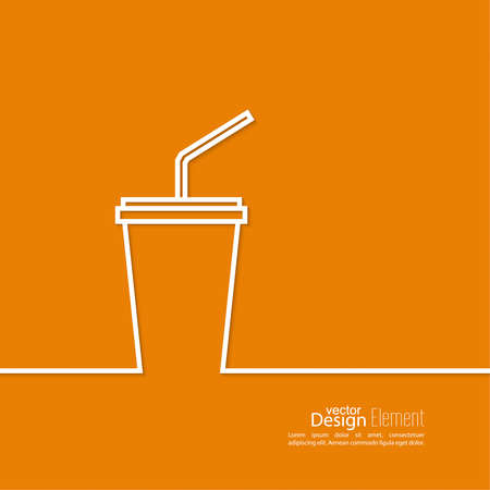 plastic straw: Abstract background with  paper cup and  drink with a straw. Line art