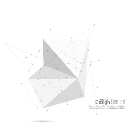 abstract shape: Abstract polygonal geometric shape with particle, molecule structure. low poly and minimal style. Vector illustration