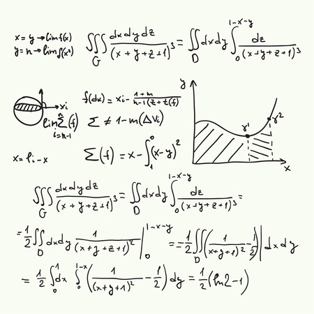 proof: Vector pattern with mathematical formulas, calculations, graphs, proof and scientific research in the field of algebra. Paper sheet with hand-drawn characters.
