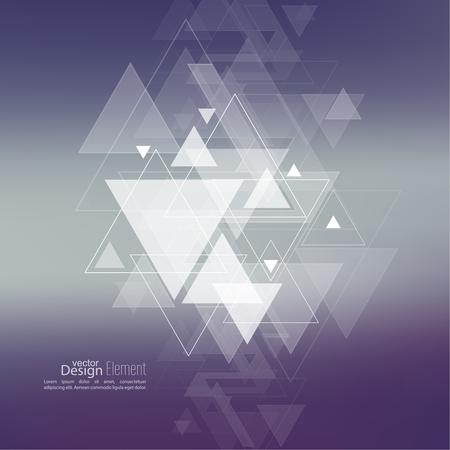 Fondo borroso abstracto con escombros triángulos corriente inconformista volar. Patrón de Triángulo de fondo. Para libro de tapa, folleto, folleto, cartel, revista, diseño de portada de CD, t-shirt. Diseño del vector.