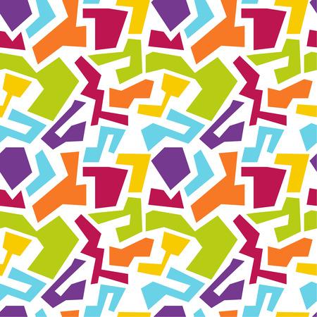 Vector seamless pattern avec des formes géométriques multicolores de forme irrégulière. Texture transparente. jaune, rouge, orange, bleu, vert