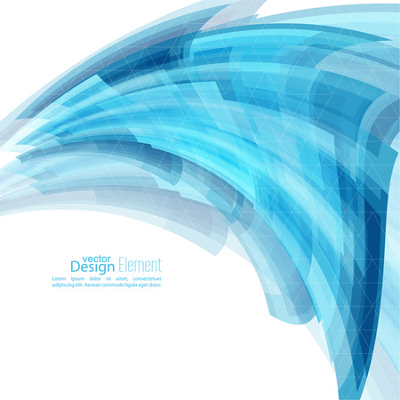 Abstract background with blue curved stripes. Technology and dynamic motion. rapid flow of information. Fast speed. smooth bend Vector Illustration