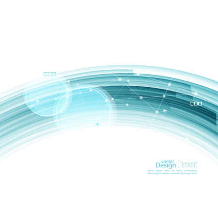 motion: Abstract background with blue stripes, plus and curves. Concept new technology and dynamic motion. Digital Data Visualization. Arc with symbols. Annual Report with information dots, circle, wave