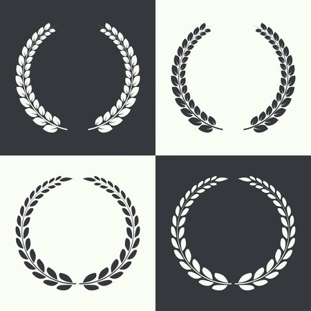 excellence: Set of vector circular laurel wreath. Insignia awards,  prizes and excellence.