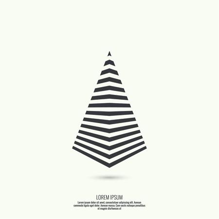 pyramid peak: Geometric figure. Pyramid of the strips. Trendy modern logo.