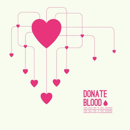 needy: Abstract background with heart and dotted lines. blood donation, help the sick and needy. Heart with drop of blood Illustration