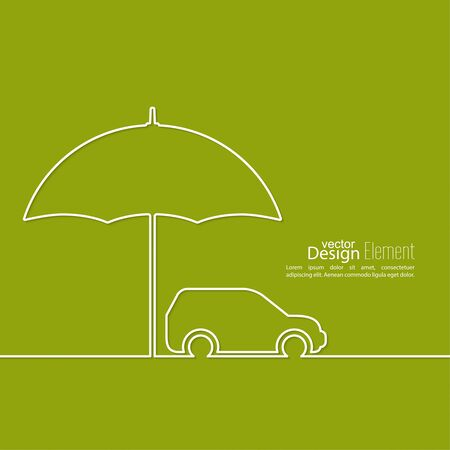 Icon of the car under an umbrella. Illustration