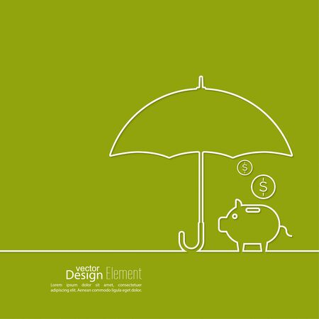 protección: Resumen de antecedentes con el paraguas abierto con la hucha de cerdo.