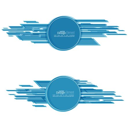slant: Abstract background with a round banner and dynamic line, stripes. Blue. Vector.