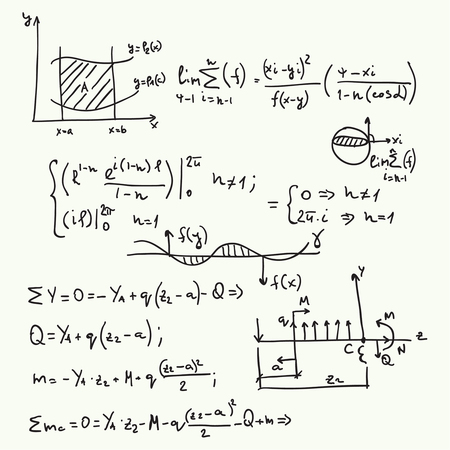 Vector pattern with mathematical formulas, calculations, graphs, proof and scientific research in the field of algebra.