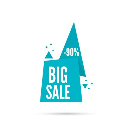 sale sticker: Tag with ribbon and label. Big sale. Pointer with triangles