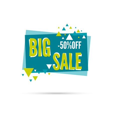 sale tag: Tag with ribbon and label. Big sale. Banner with triangles
