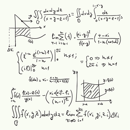 mathematical proof: Vector pattern with mathematical formulas, calculations, graphs, proof and scientific research in the field of algebra.