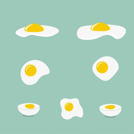 ailment: Icons with a fried egg, boiled egg. Different forms of eggs.