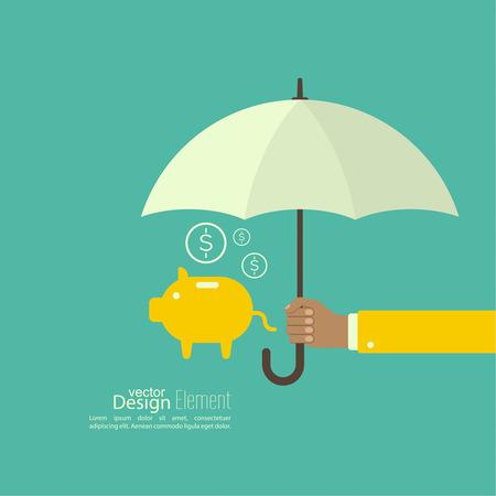 Männliche Hand hält einen Regenschirm. Schutz des Geldes, persönliche Mittel, Bankguthaben. Geldkasten