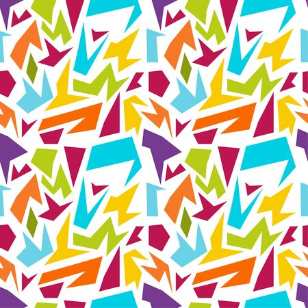 irregular: Vector seamless pattern with multi-colored geometric shapes of irregular shape. Illustration