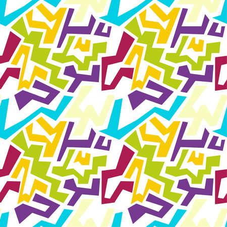 irregular shapes: Vector seamless pattern with multi-colored geometric shapes of irregular shape. Illustration
