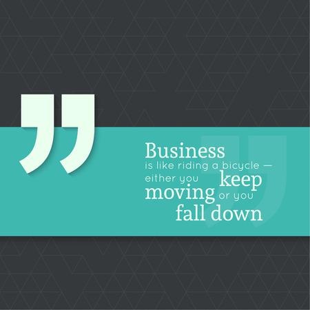 caes: Cita inspirada. El negocio es como montar en bicicleta, ya sea a mantenerse en movimiento o que se caiga. dicho sabio con la bandera verde Vectores