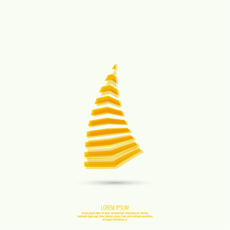 rectangular: Abstract curved yellow figure. Claw. Trendy modern logo. Illustration