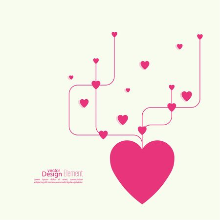 help symbol: Heart with intersecting curved lines. Pink. The concept of social connections, help charity, network of health facilities. symbol donate