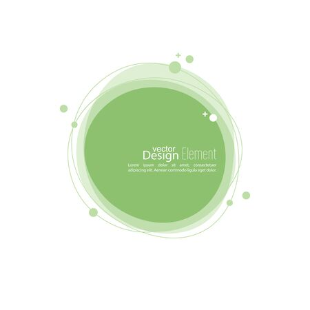 subsidiary: Abstract round banner with lines and particles and molecules. TechnoTex box. green