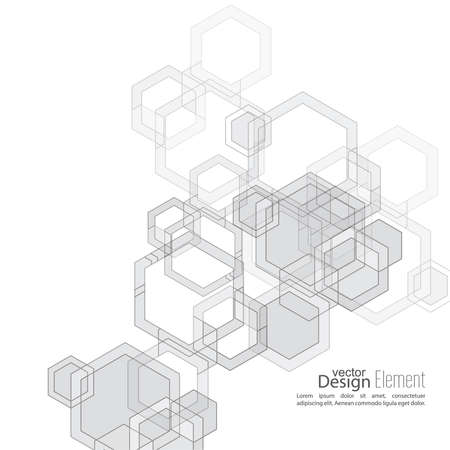 subsidiary: Abstract  Background with transparent cubes, hexagons carcass. Techno design of future, minimalism. technology, science and research. cyberspace cells. Digital Data Visualization. Black, white, sepia Illustration