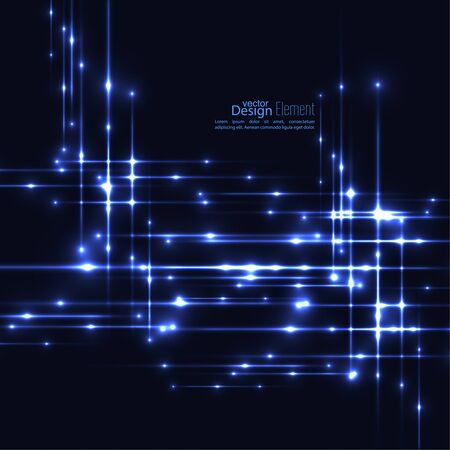 scintillation: Abstract background with glowing rays intersecting. Futuristic techno design. Horizontal, vertical line. For parties, annual reports, software, anniversary, scientific research. Vector. dark, blue