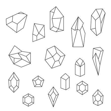 Set van kristallen en edelstenen. Geometrische en veelhoekige vormen