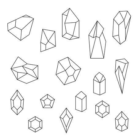 Set of crystals and gemstone. Geometric and polygonal shapes