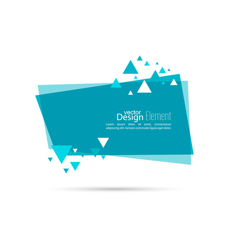 Abstract background with rectangle banner and dynamic triangles. Blue. Vector.