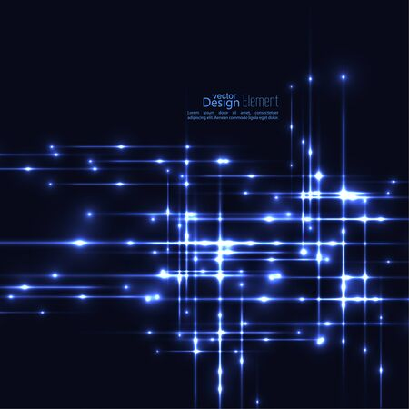 Abstract background with glowing rays intersecting. Futuristic techno design. Horizontal, vertical line. For parties, annual reports, software, anniversary, scientific research. Vector. dark, blue