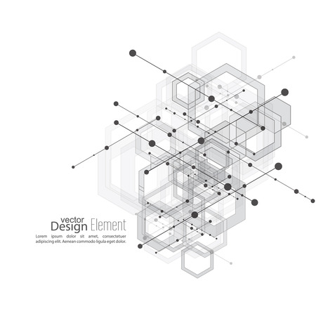 industrial complex: Virtual abstract background with particle, molecule structure with transparent cubes, hexagons carcass. genetic and chemical compounds. Science and connection concept. Social network. vector
