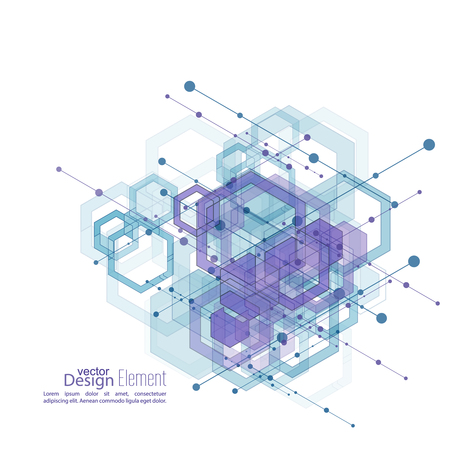 Fondo limpio abstracto con cubos transparentes, hexágonos canal. Diseño de Techno de futuro, el minimalismo. la tecnología, la ciencia y la investigación. células ciberespacio. Visualización de datos digital. Ilustración de vector