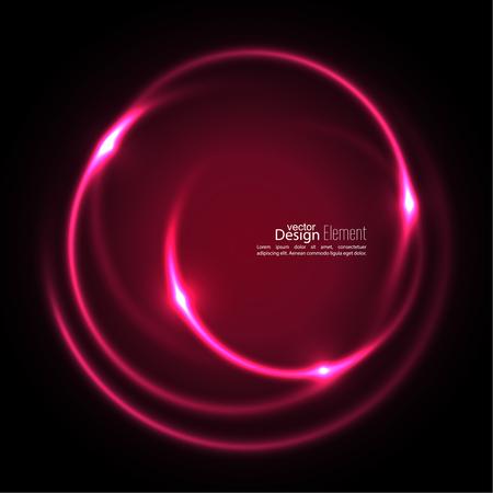 Resumen de fondo con telón de fondo de remolino luminoso. curvas de intersección. Espiral al rojo vivo. El túnel de flujo de energía. Vector. rojo rosa Ilustración de vector