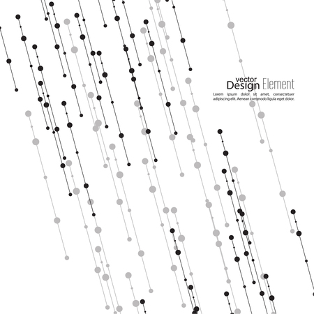 information science: Virtual abstract background with particle, molecule structure. The intersecting diagonal lines with dots. Black and white, sepia. Science and connection concept. The database information transfer Illustration