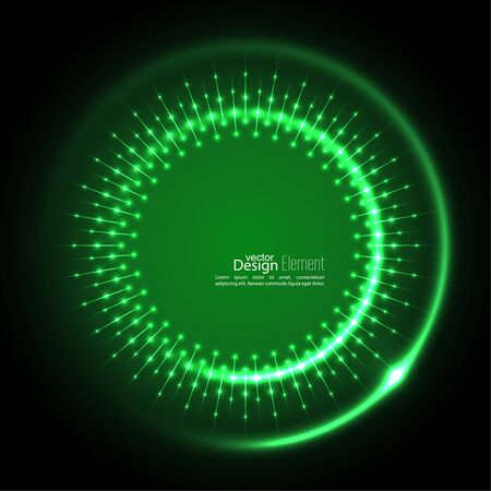 jade: Abstract techno background with spirals and rays with glowing particles. Tech design. Lights vector frame. Glowing dots.  green, jade, malachite, lime Illustration