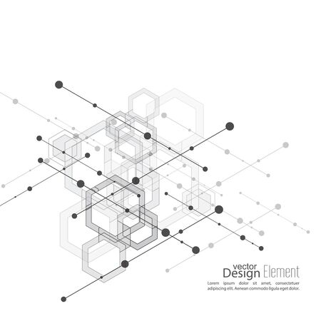 carcass: Abstract neat  Background with transparent cubes, hexagons carcass. Techno design of future, minimalism. technology, science and research. cyberspace cells. Digital Data Visualization.