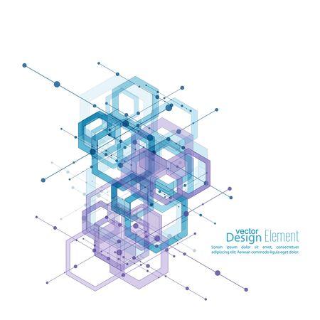 Résumé Contexte soigné avec des cubes transparents, hexagones carcasse. conception de Techno de l'avenir, le minimalisme. la technologie, la science et de la recherche. cellules cyberespace. Visualisation de données numériques.