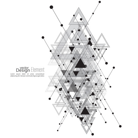 intersecting: Abstract vector background with geometric shapes intersecting. Diagonal lines with dots and translucent triangles. Ethnic, mystical symbol. hipster pattern. Black and white. Cosmic design. gray