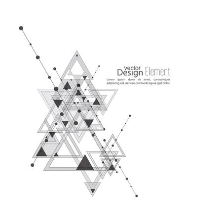 el atomo: vector de fondo abstracto con formas geométricas de intersección. Las líneas diagonales con puntos y triángulos translúcidos. En blanco y negro. gris. Diseño de Techno. Tecnología y Futuro.