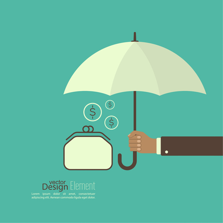 weatherproof: Male hand holding an umbrella. Protection of money, personal funds, bank deposits. Wallet