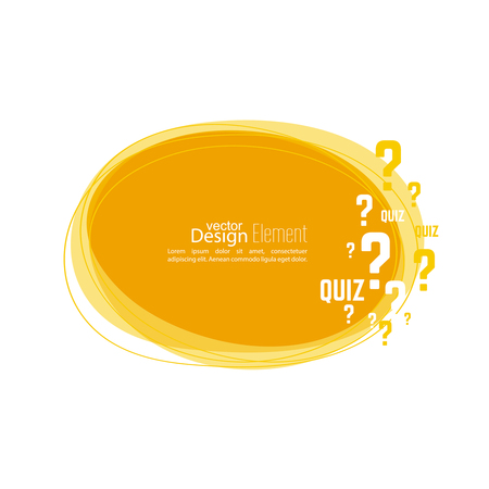 creative answers: Question mark icon. Help symbol. Quiz vector. Banner roundish form. The concept is the question with the answer.
