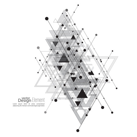 Résumé de fond vectoriel avec des formes géométriques intersection. Les lignes diagonales avec des points et des triangles translucides. Ethnique, symbole mystique. motif hippie. Noir et blanc. conception cosmique. gris