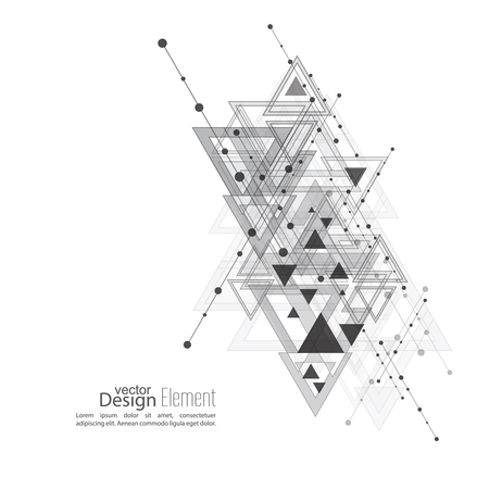 diagonal: Abstract vector background with geometric shapes intersecting. Diagonal lines with dots and translucent triangles. Black and white. gray. Techno design. Technology and  Future. Illustration