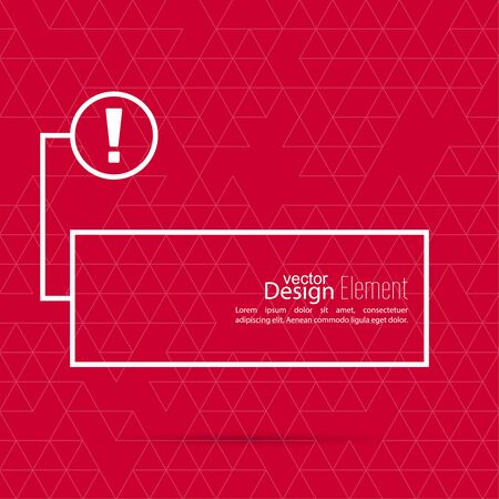 text box: Exclamation mark blank template. Attention sign icon. Empty vector form.  information, text box, textbox on red background. Speech Bubbles.