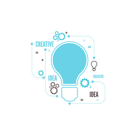 idea lamp: Electric lamp and gear. Bulb light idea. concept of big ideas inspiration innovation, invention, connection and operation engineering, teamwork, breakthrough.