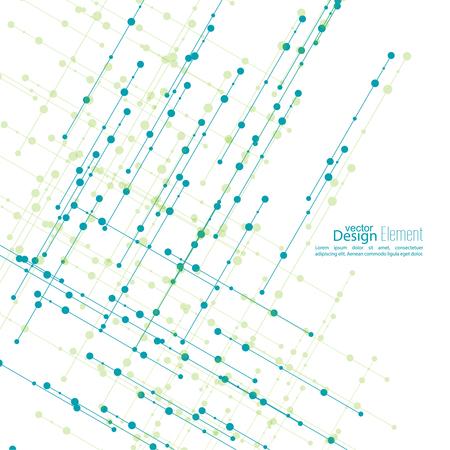 fond abstrait virtuel avec particules, structure moléculaire. L'intersection des lignes diagonales avec des points. Bleu vert. La science et le concept de connexion. Le transfert de l'information de base de données