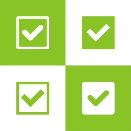 passed: Set of vector buttons with check marks or ticks. checkbox. Web and mobile applications. acceptance positive passed voting. Green. flat design