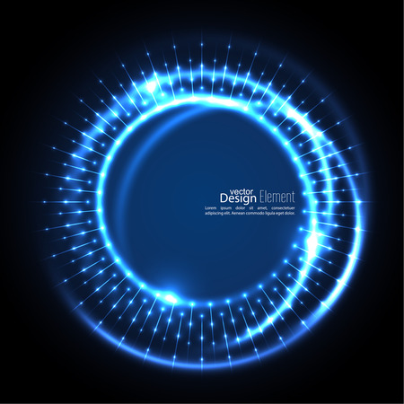 ultramarine: Abstract techno background with spirals and rays with glowing particles. Tech design. Lights vector frame. Glowing dots.  blue, cerulean, cobalt, indigo, sapphire, ultramarine