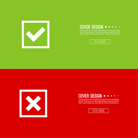 denial: Set of vector buttons with check marks, ticks, x. checkbox. Web and mobile applications.confirmation, form of access denial, refusing. red, green. template, layout